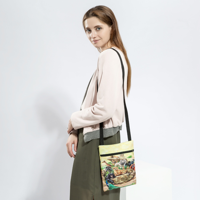 Colorful Animals Printed Messenger Bag For Girl Summer Ladies Mini Flap Shoulder Bag Casual Canvas Female Small Bag 4