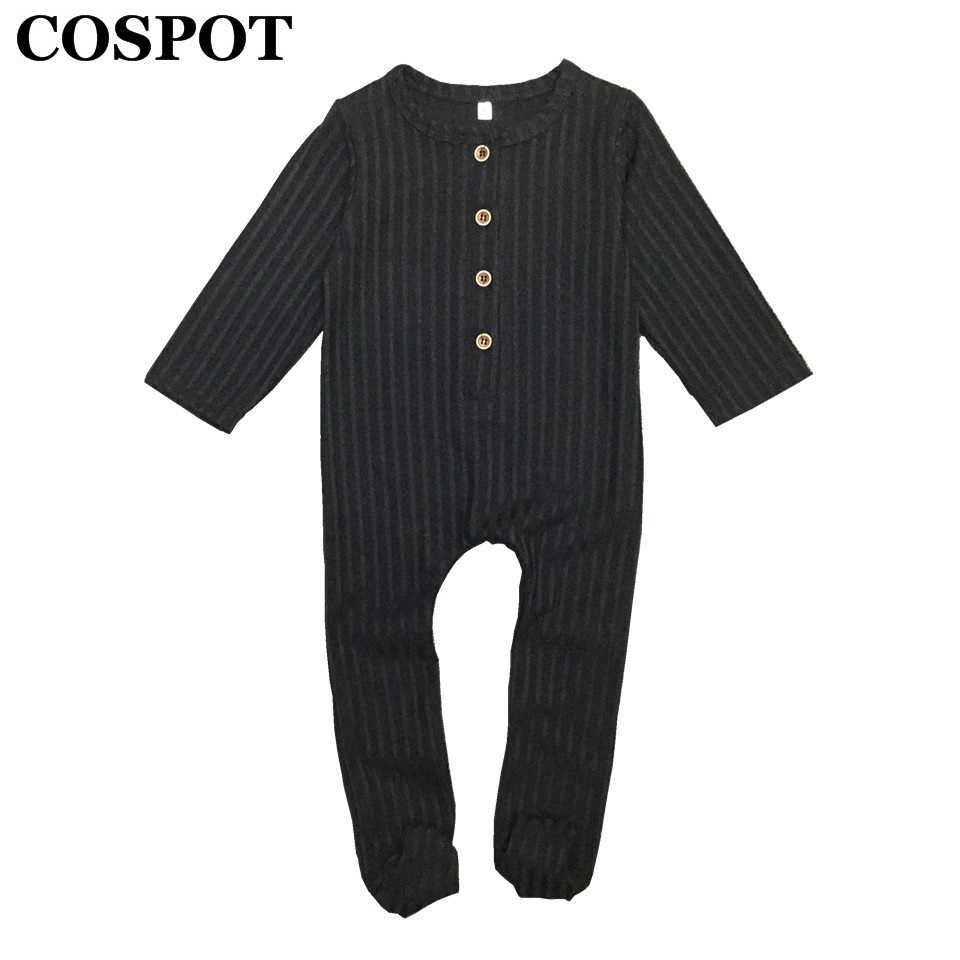 COSPOT font b Baby b font Boys Girls Jumpsuit with Footies Newborn Autumn Plain Black Red