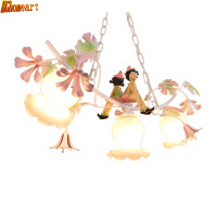 HGhomeart Pastoral Style Cartoon Chandelier Iron Flower Flower Light Children S Bedroom Restaurant Light Energy Lamp