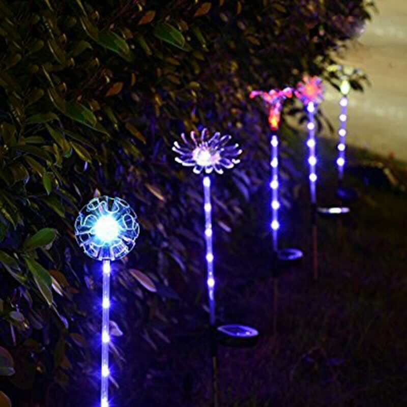 Waterproof Multi color Changing Solar Lawn Lamps Garden Decorative Stake LED Light 52x52MM in LED Lawn Lamps from Lights Lighting