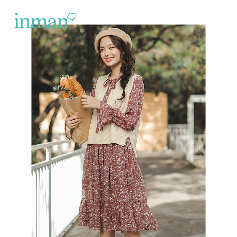 INMAN 2019 Spring Autumn New Arrival Female Literary Neckline Bandage Vest With Two piece Dress
