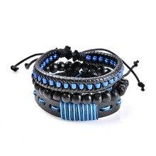 Hot sell leather bracelet non-mainstream punk wind handmade multi-layer hand bangle
