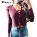 Wimuzz Lace Up Com Tiras Sexy Camisola Das Mulheres do Vinho Vermelho Profundo Decote Em V Top Colheita Plus Size Oversized Curto Pullover