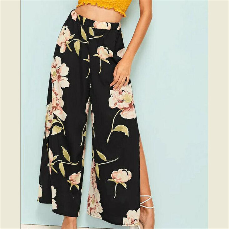 Casual High Waist   Wide     Leg     Pants   Women 2019 Summer Beach Split Trousers Female Holiday Vintage Casual New Floral Prints Trousers