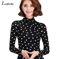 Korean Fashion Polka Dot Full Sleeve Top Women Blouses 2016 Summer Net Yarn Stand Black Whiteel