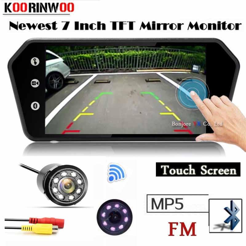 Koorinwoo HD 1024*600 Car Monitor Media Touch Screen Mirror Display TF USB Bluetooth MP5 FM Parking Car Rear view Camera Sensors цена