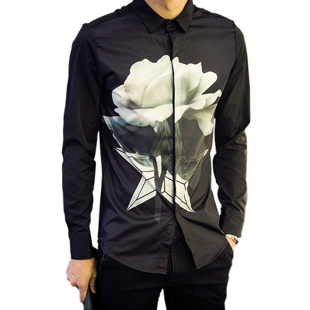 a4c99a542378b Spring Casual Men Shirt Long Sleeve Fashion Shirts Lotus Flower Print Mens  Designer Shirts Slim Fit Shirt Men 5xl Mens Clothing