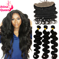 13*4 Ear to Ear Lace Frontal Closure with Bundles Body Wave Brazilian Hair Weave Bundles with Full Lace Front Closure Human Hair