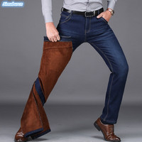 Autumn Winter Casual Jeans Men Plus Velvet Straight Jean Fashion Back Blue Warm Long Trousers Boys High Quality Dropshipping