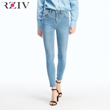 RZIV high waist women big stretch denim pants skinny jeans casual solid color slim