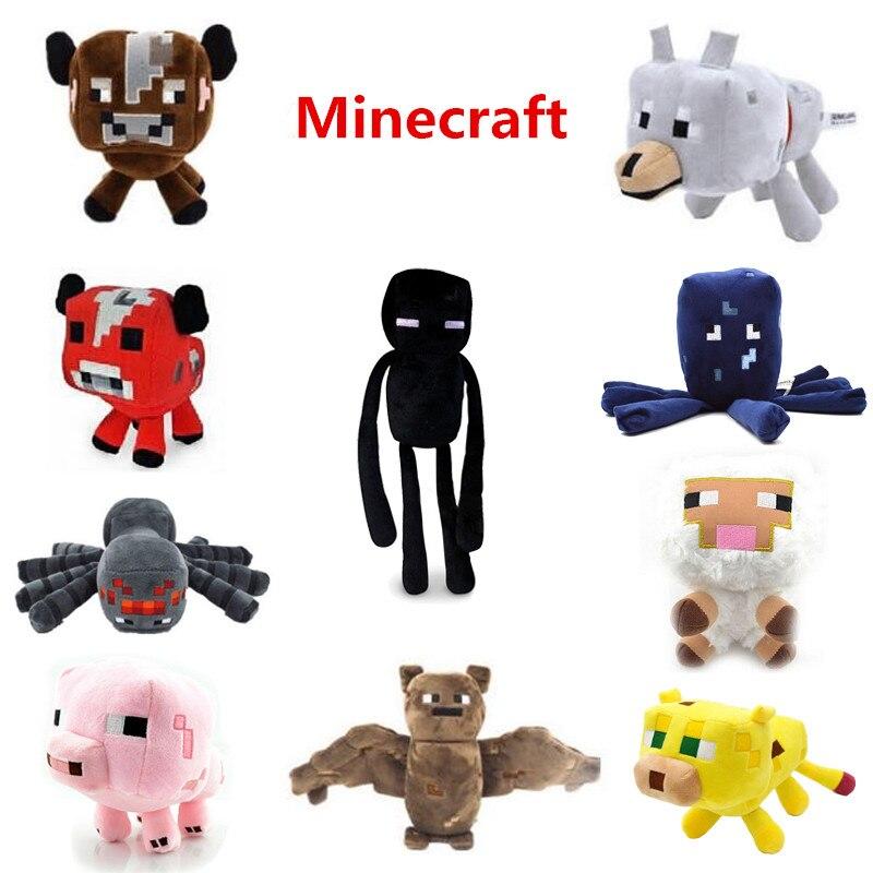 Minecraft Plush Doll Toys Enderman Ocelot Pig Sheep Bat Mooshroom Squid Spider Wolf Animal Soft Stuffed