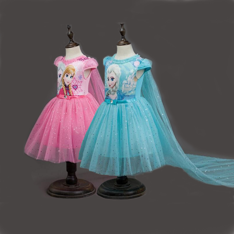 Girls Summer Dress Cosplay Anna Elsa Dress Cartoon Sofia Princess Dresses For Party Costume Snow Queen Fantasy Baby Girl Dresses(China)