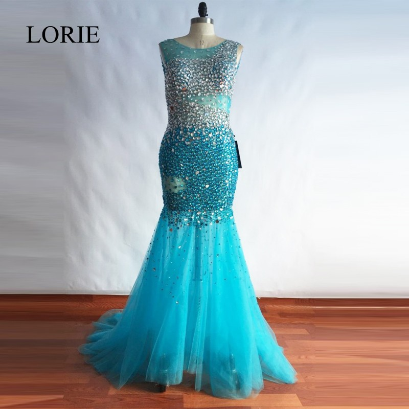 LORIE Luxury   Evening     Dress   2018 Abendkleider Crystal Backless Bling Bling Plus Size Prom   Dress   Long Women Formal Party Gowns