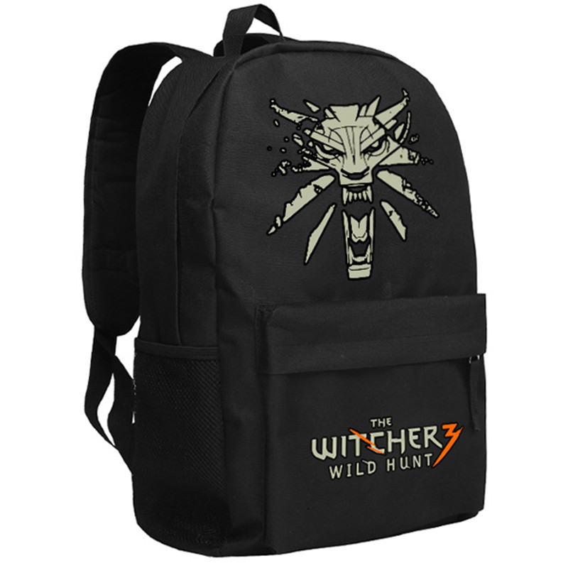 High Quality 2017 New Game The Witcher 3: Wild Hunt Printing Backpack The Witcher Backpack Canvas School Bags Mochila Feminina