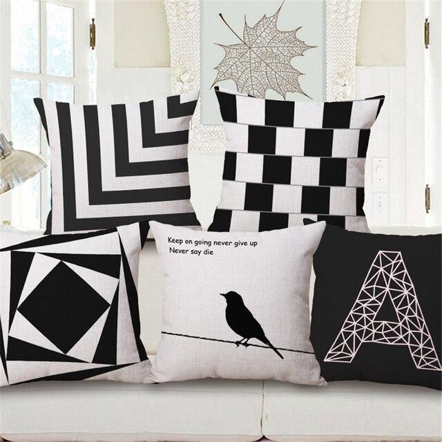 Schwarz Und Weiß Vogel Nordic Plaid Geometrische Dekorative Sofa Dekokissen  Fall Schlafzimmer Bürostuhl Polsterbezüge Wohnkultur E44