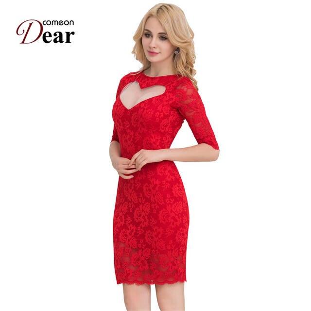 Comeondear Sexy Sweet Heart Slim Fashion Dress Vestido Tallas Grandes 2018 Lace Bodycon Dress Vb1049 Hot Fashionable Dresses