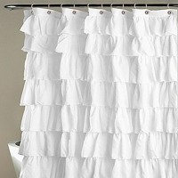 Ruffle Shower Curtain Polyester Fabric Cloth Curtains for Bathroom Bathing BDF99