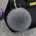 Moda 10 Cores 12 cm fluffy Pele De Pele De Raposa Bola Chaveiro Pom Pom Pompons Pompom Keychain Chaveiro Chaveiro para o Saco de Charme pingente