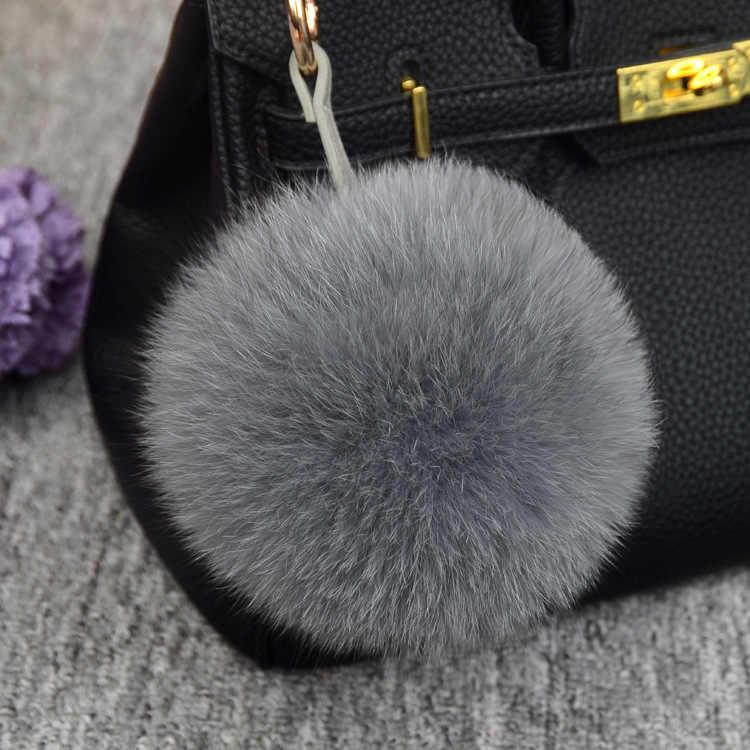 Moda Cores 12 10 cm fluffy Pompons Pele de Pele De Raposa Bola Chaveiro Chaveiro Chaveiro Pompom Pom Pom Chaveiro de Charme bolsa Pingente