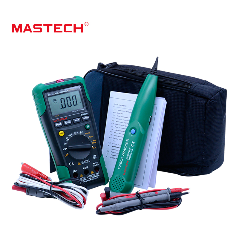 MASTECH MS8236 Auto Range Digital Multimeter LAN Tester Net Cable Tracker Tone Telephone line Check Non-contact Voltage Detector promotion 6pcs baby bedding set curtain crib bumper baby cot sets baby bed bumper bumper sheet pillow cover