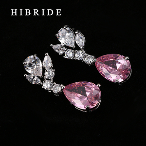 Image 4 - HIBRIDE Top Quality Tear Drop Shape AAA Cubic Zirconia Bridal Wedding Jewelry Sets,White Gold Color Jewelry Set N 59