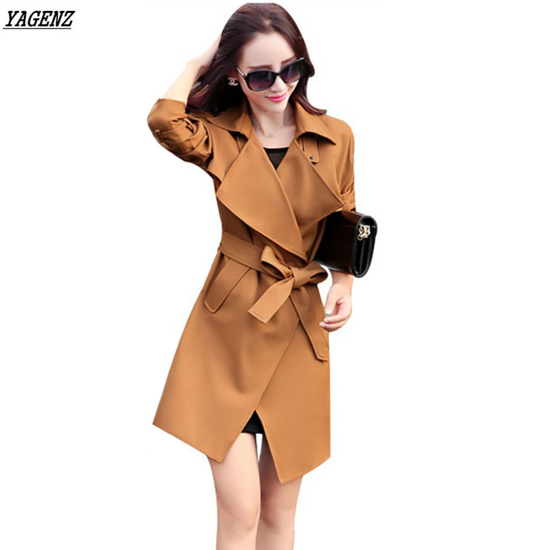 YAGENZ Europe Style Spring   Trench   Coat 2017 New Costume Solid Color Loose Belt Fashion Women Windbreaker Plus Size Casual Tops