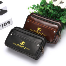 лучшая цена PU Leather Waist Bag Men Money Phone Belt Wear Fanny Pack Casual Male Bum Bag Vintage Pouch Fashion Coin Pocket Purse Wallet