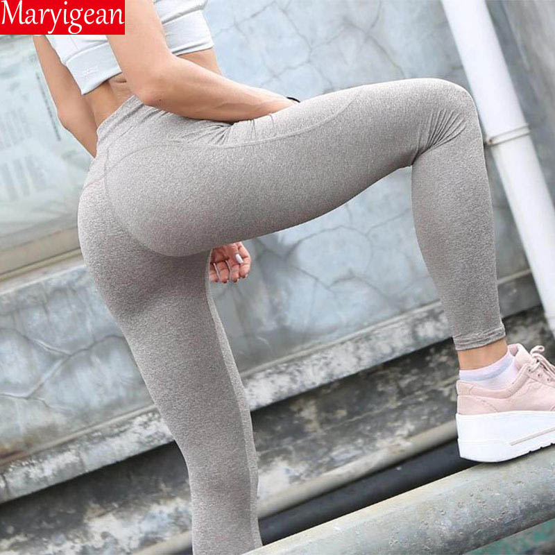 Maryigean High Waist Pocket Leggings Solid Color Workout Leggings Women Clothes 2019 Push Up Yoga Sport  Leggins Mujer
