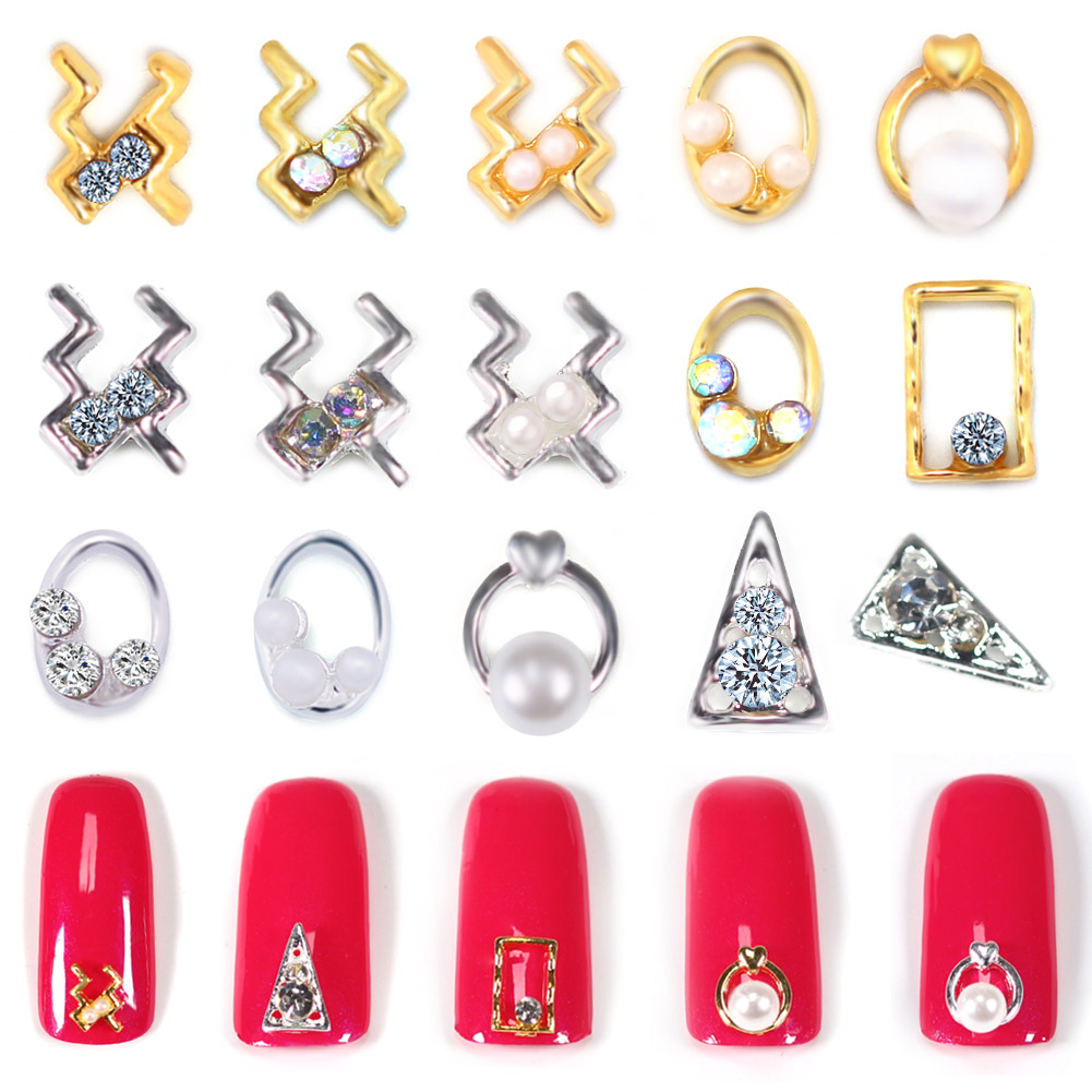Nail Art Ornament Oval Frame Gold Silver Diamond Pearl Alloy Nail Accessories HJL2018