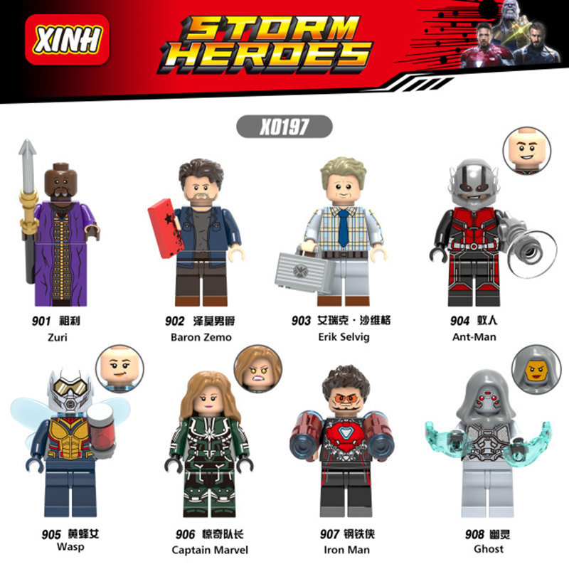Latest Model X0197 Super Heroes Figures Ant man Iron man Wasp Ghost Zuri DIY Toys Building Blocks Best Gift To Kid best ghost 60