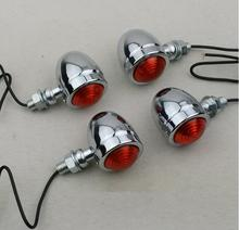 Free Shipping 4x sivler Motorcycle Turn Signal Light For Chopper Bobber Cafe racer