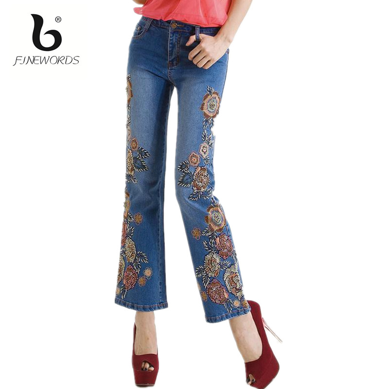 FINEWORDS 2017 Spring Summer Vintage Folk-custom Flower Handmade Embroidered Jeans High Waist Flare Beading Denim Skinny Pants colorful brand large size jeans xl 5xl 2017 spring and summer new hole jeans nine pants high waist was thin slim pants