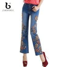 FINEWORDS 2017 Spring Summer Vintage Folk-custom Flower Handmade Embroidered Jeans High Waist Flare Beading Denim Skinny Pants