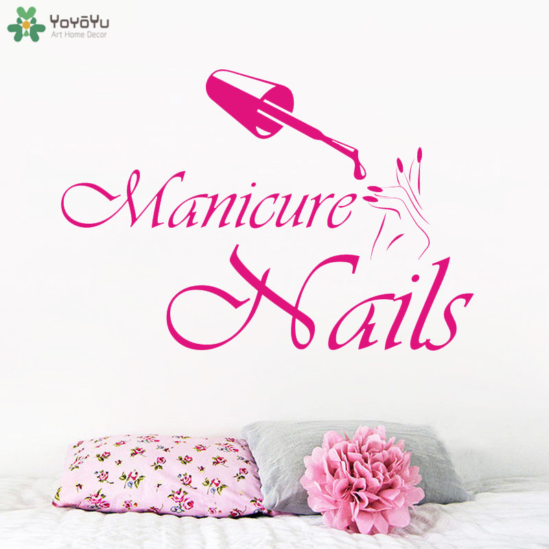 High Quality Girls Beauty Salon Wall Decal Nails Vinyl Stickers Manicure Fashion Design Hands Interior Decor SYY844