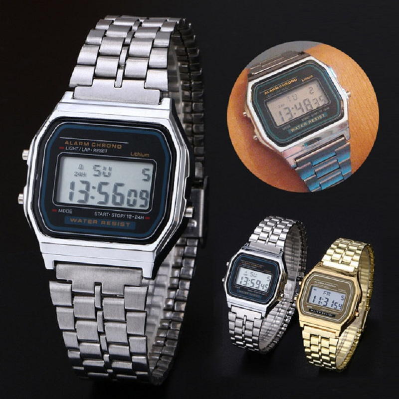 Sport Men Women Watches LED Digital Wrist Watch Clock relogio masculino Men Boy Timer Alloy Gold Silver F91W dropshipping boys girls students time clock electronic digital lcd wrist sport watch relogio masculino dropshipping 5down