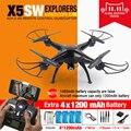 100% original syma x5sw fpv rc quadcopter zangão com wi-fi câmera hd 2.4g 6-axis dron helicóptero rc toys com 5 bateria