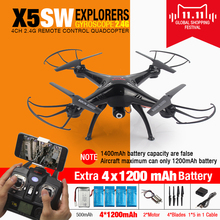 SYMA X5SW FPV RC Мультикоптер Drone с WI-FI Камера hd 2.4 Г 6-осевой Дрон Вертолет Toys With Full Capacity 5 Батареи VS H8C