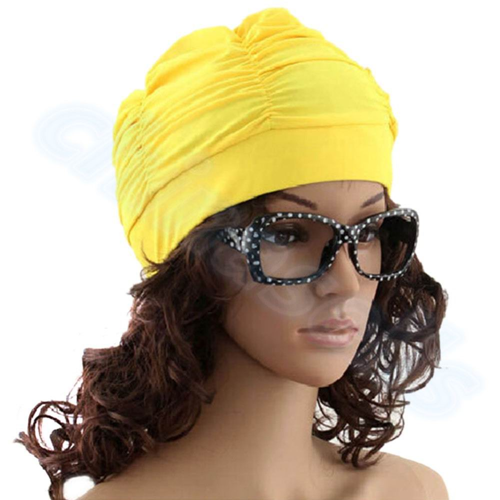 Drape Stretch Seaside Fold Swim Cap hat Sexy Lady Womens Girls Long Hair Swim Cap Stretch Hat Drape Bathing Swimming Cap