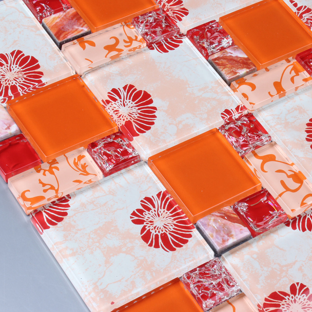 Ehgm1001b orange impreso flor rompecabezas mosaico de azulejos ...