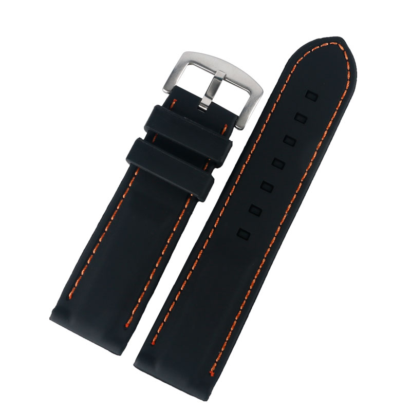 20/22/24/26mm Black Rubber Silicone Watchbands Men Women Stainless Steel Pin Buckle Watch Strap Outdoor Watch Band+2 Spring Bars black 20mm band width rubber wrist watch band strap stainless steel pin buckle 2 spring bars