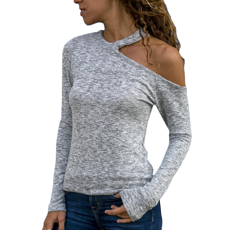 New Casual Tees Spring Autumn Women Tops And Blouses Full Sleeve Fashion Sexy One Shoulder Hollow Out Solid Shirts Female Blusas in Blouses amp Shirts from Women 39 s Clothing