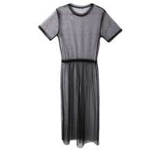 2018 New Sexy Women Ladies Short Sleeve Mesh Sheer See Through Long Maxi Dress Beach Tulle Evening Party Club Wear Dress(China)