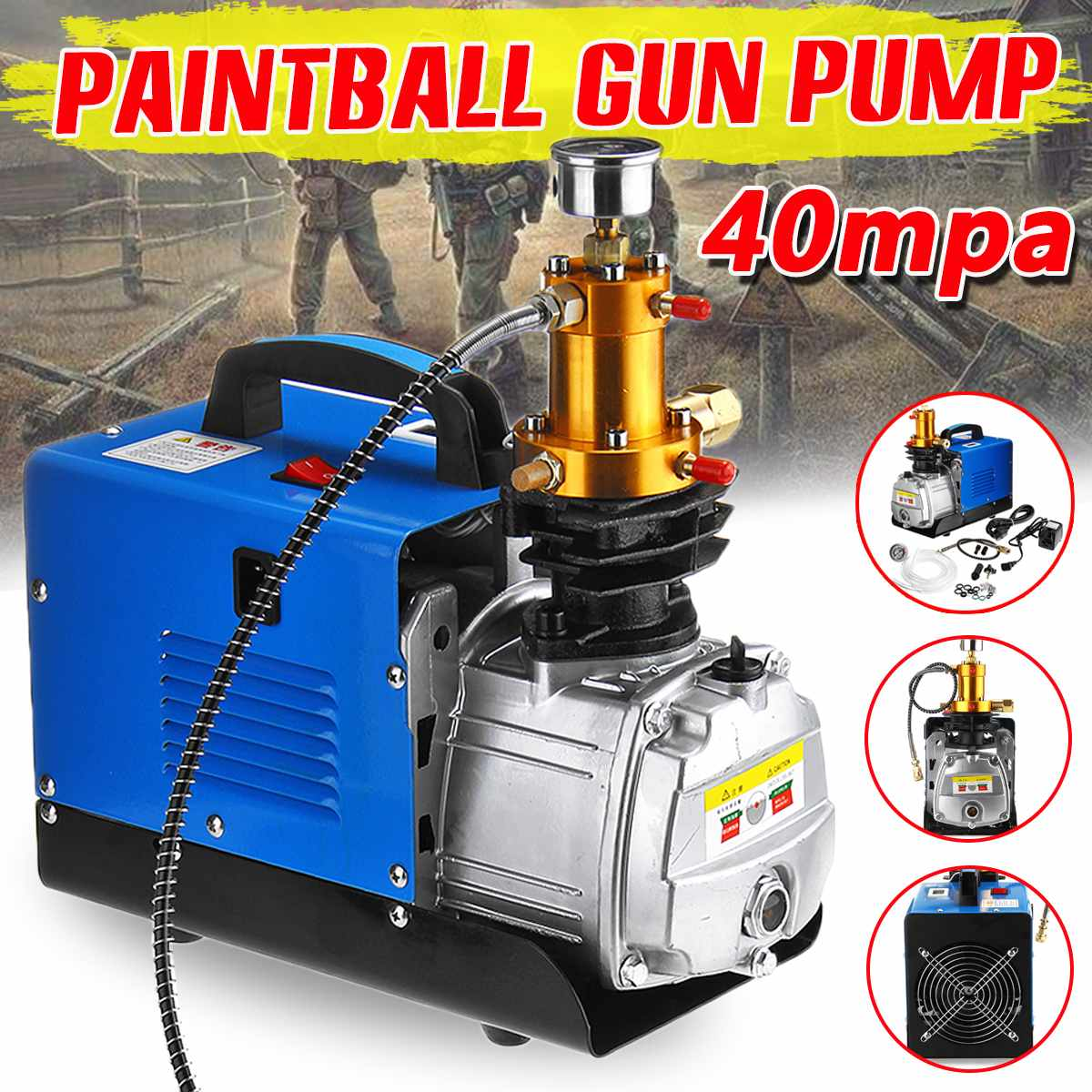 40MPa Air Compressor Pump 110V//220V PCP Electric 4500PSI High Pressure Diving