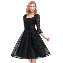 Summer Women Black Lace Swing Vintage Sexy Casual Party Elegant woman clothing Vestidos Robe Femme plus size Rockabilly dresses
