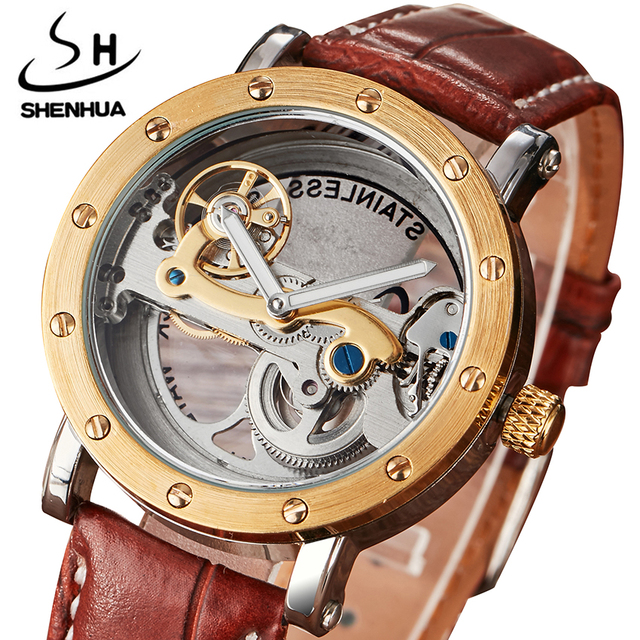 Mechanical Watches Skeleton Watch Automatic Men SHENHUA Self-Wind Top Brand Luxury Leather Stainless Steel relogios masculino