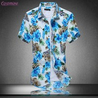 Men S Casual Full Floral Print Short Sleeve Button Up Beach Shirt For Aloha Party Holiday