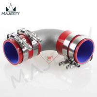 50mm 2 Cast Aluminum 90 Degree Elbow Pipe Turbo Intercooler+ silicone hose kit RED