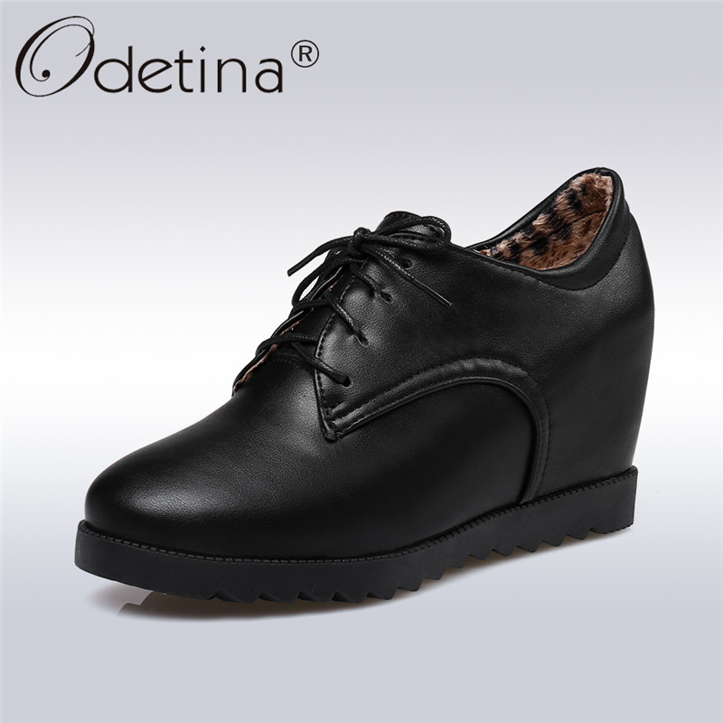Odetina 2018 New Fashion Casual Women Hidden Heels Wedge Shoes Short Plush Round Toe Platform Shoes Lace Up Comfortable Pumps odetina 2018 new fashion women wedges pumps women comfort hidden heel casual hook