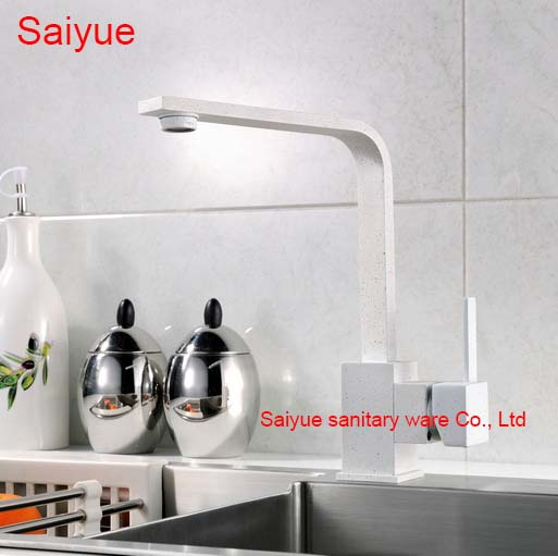 ФОТО New White Marble Stone Painting 360 Rotating Single Handle Deck Mounted Kitchen Cuisine Sink Faucet Hot and Cold Mixer Tap
