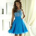 Stunning Crystals Beaded Cocktail Dress Off Shoulder Sleeveless Chiffon A-line Party Short Gown Custom Robe De Soiree